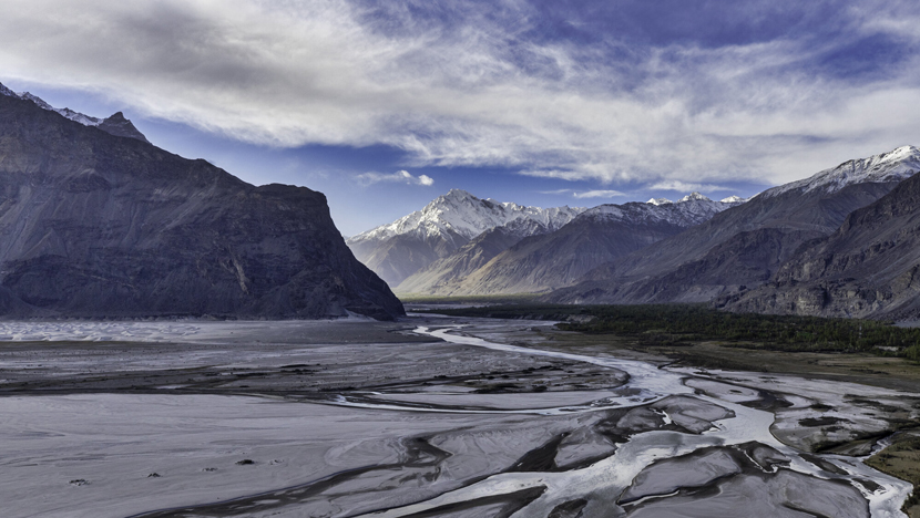 shigar valley with river indus