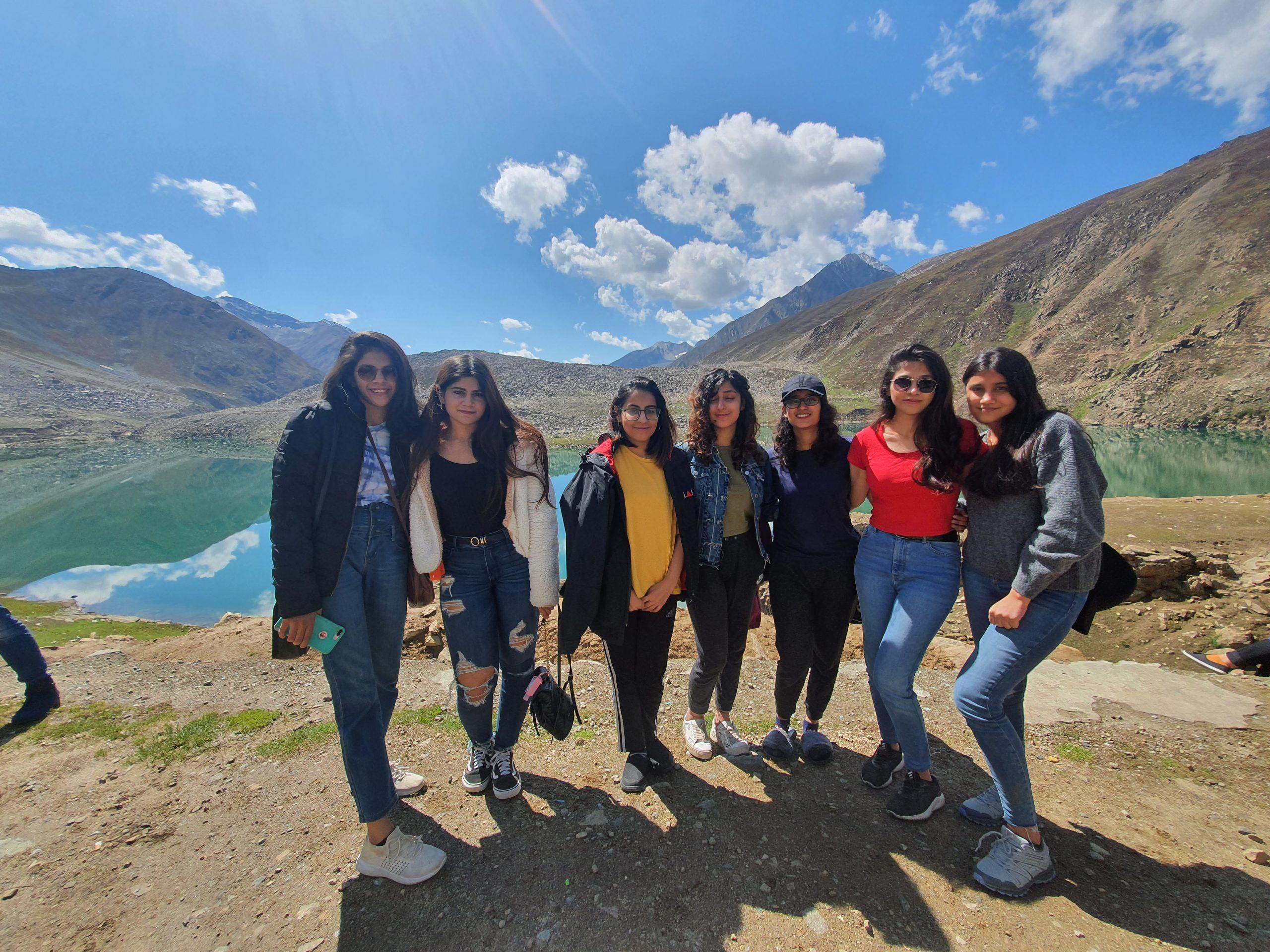 girls enjoy at skardu lake